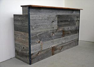 upcycled pallet and steel reception desk