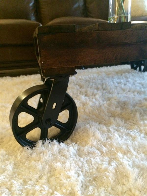 wooden pallet coffee table with cart wheels