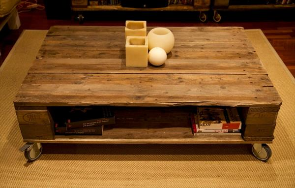 handmade pallet coffee table with storage