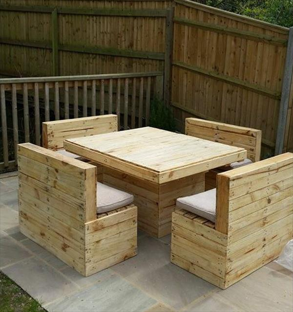upcycled pallet patio table and bench set