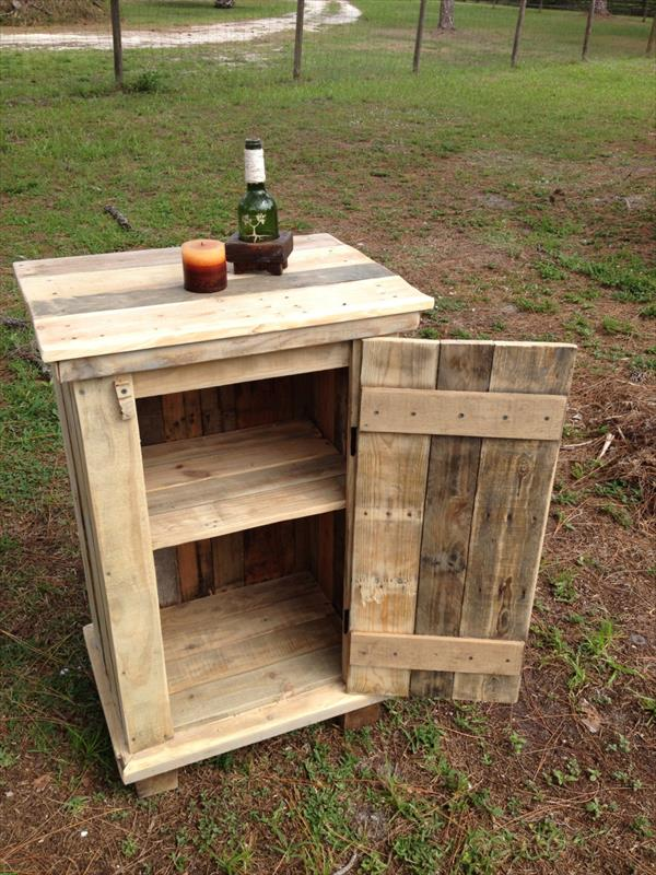 handmade pallet storage cabinet and side table