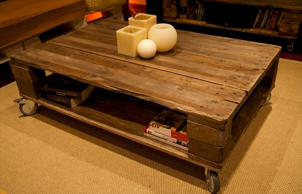 repurposed pallet coffee table with storage and wheels