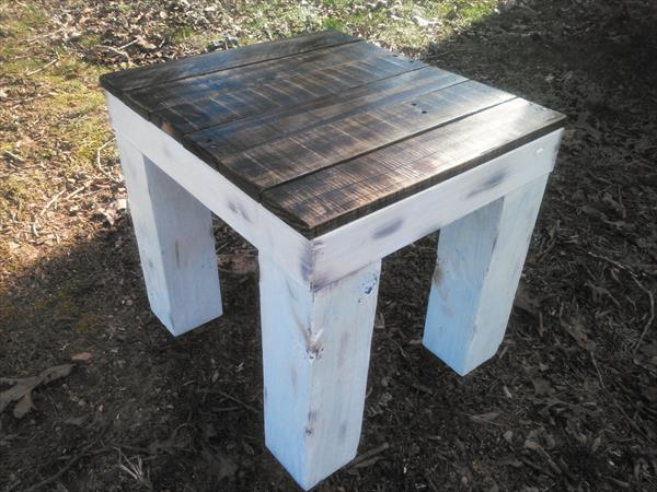 handcrafted wooden pallet side table