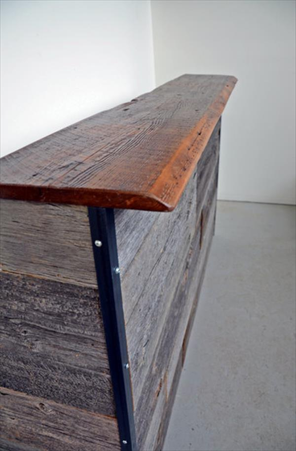 handcrafted pallet and steel reception desk