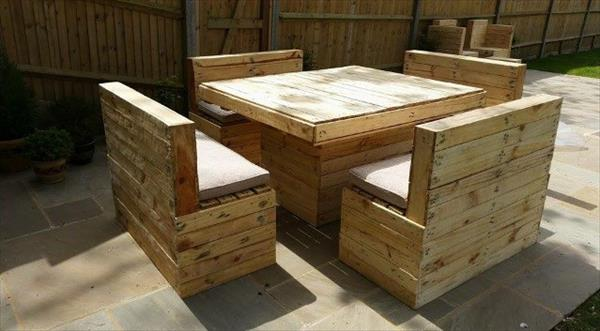 diy pallet patio sitting furniture set