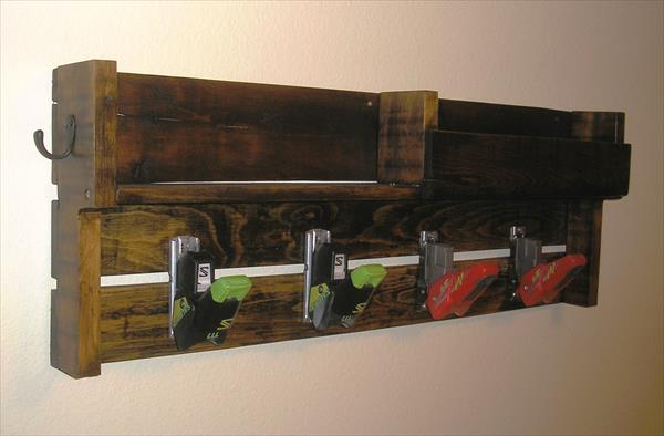recycled pallet coat rack with ski bindings