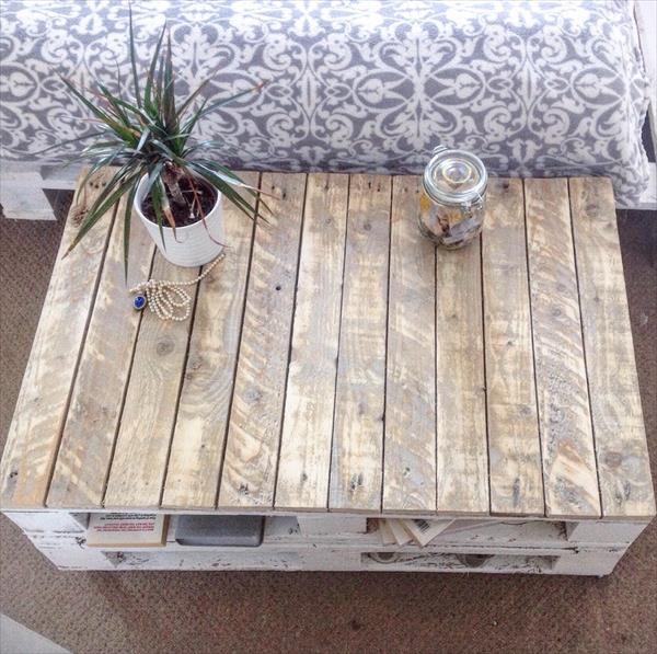 Pallet Shabby Chic Coffee Table with Wheels | Pallet ...