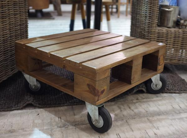 recycled pallet mini coffee table with wheels