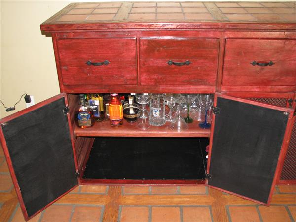 recycled pallet kitchen cabinet and dining room hutch