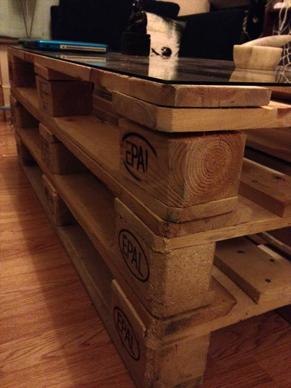 handmade stacked whole pallet coffee table