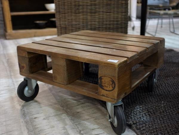 reclaimed pallet coffee table with wheels