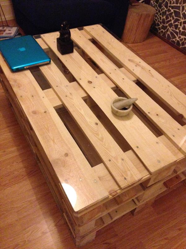 diy whole pallet coffee table with glass top