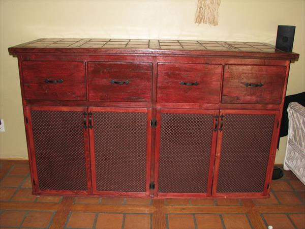 reclaimed pallet kitchen storage cabinet and dining room hutch