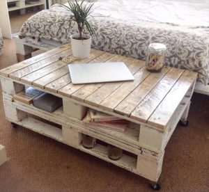 upcycled pallet shabby chic coffee table with book storage