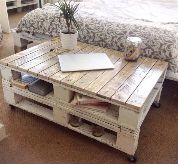 Pallet Shabby Chic Coffee Table With Wheels
