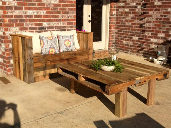 wooden pallet patio bench and coffee table