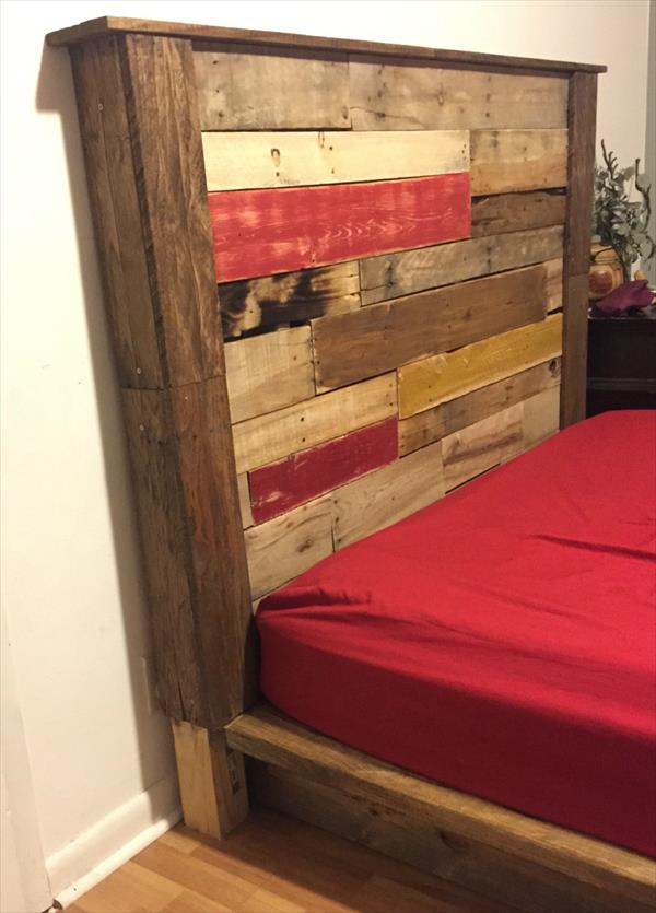 reclaimed pallet headboard with mantle