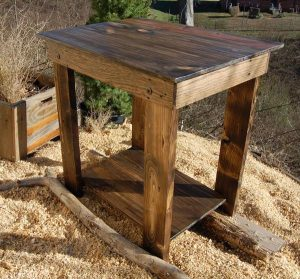 Stained Pallet End and Bedside Table
