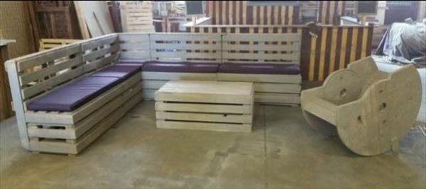 recycled pallet painted garden furniture