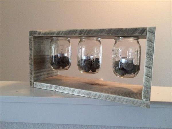 repurposed pallet and mason jar light box