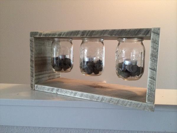 repurposed pallet and mason jar light box