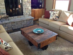 recycled pallet vintage coffee table with cart wheels