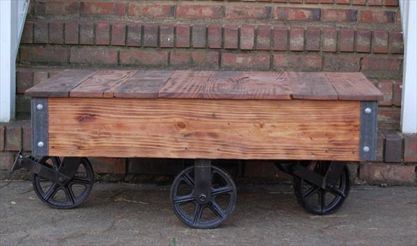 reclaimed pallet vintage coffee table with cart wheels