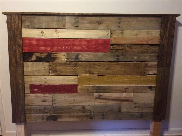 colorful pallet accent mantle headboard