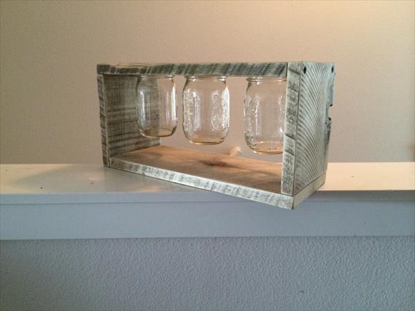 reclaimed pallet and mason jar light box