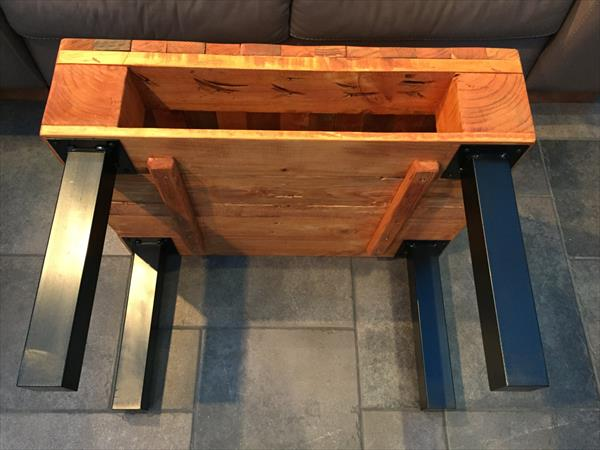 handcrafted pallet coffee table with built in shelf