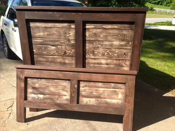 recycled pallet headboard and accent footboard