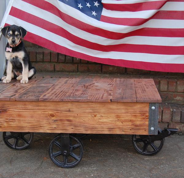 wooden pallet industrial cart coffee table