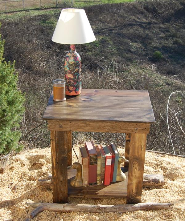handmade wooden pallet nightstand and end table