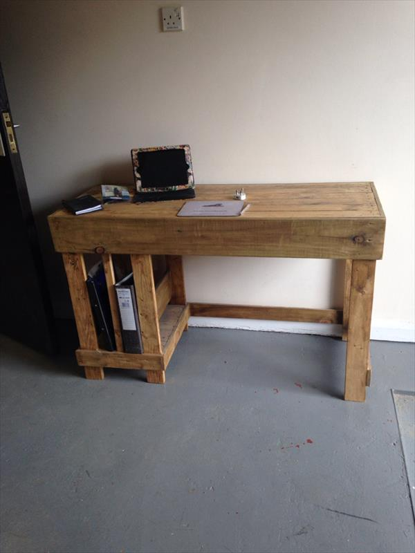 Diy Wooden Desk ~ Diy wood pallet office computer desk furniture plans