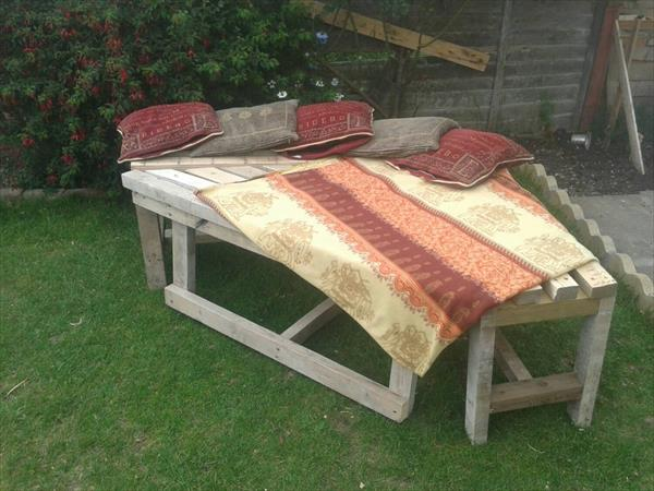 repurposed pallet and old wood lounger