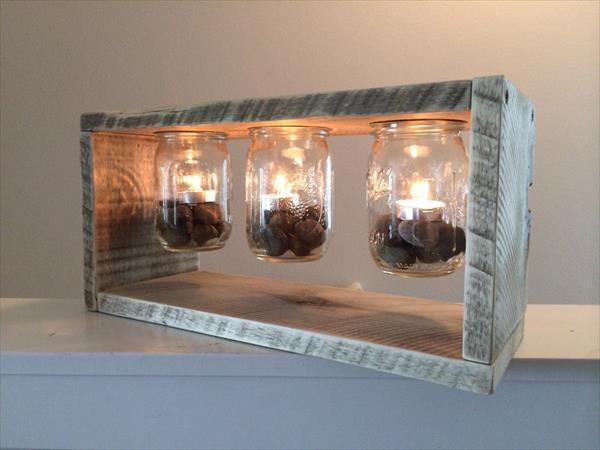 recycled pallet and mason jar light box