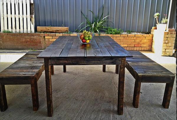 wooden pallet dining table with benches