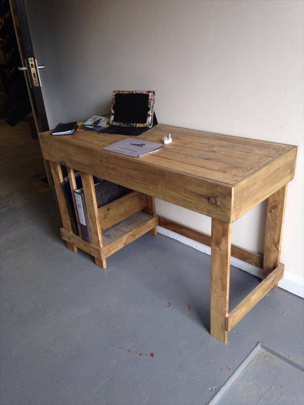 wooden pallet office and kids study desk