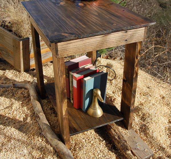 diy wooden pallet nighstand and end table
