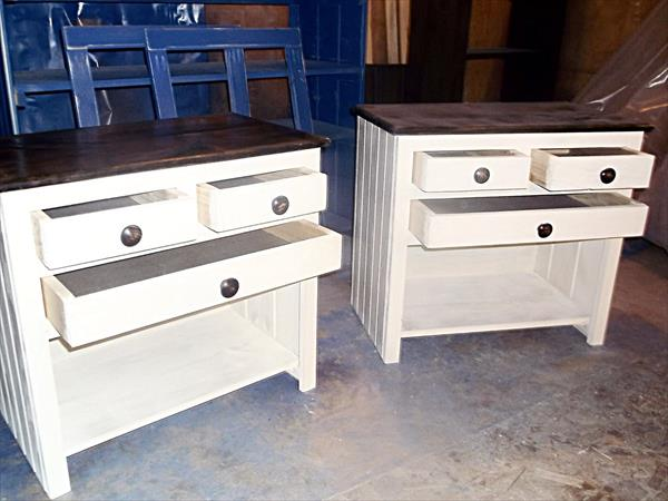 shabby chic white pallet nightstands
