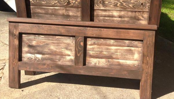 handmade wooden pallet stained headboards