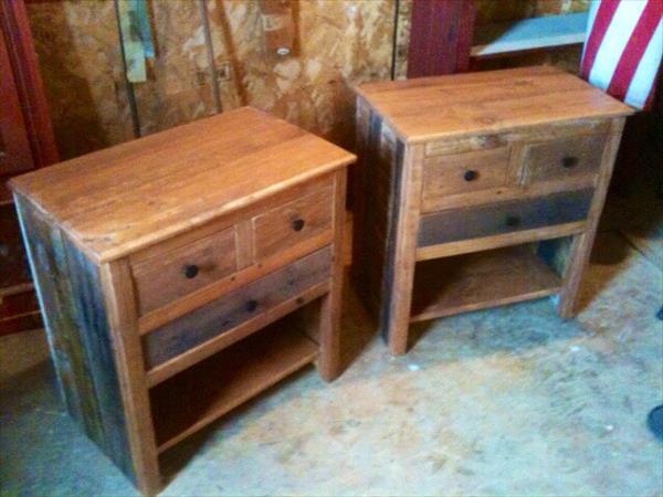 wooden pallet rustic nightstands