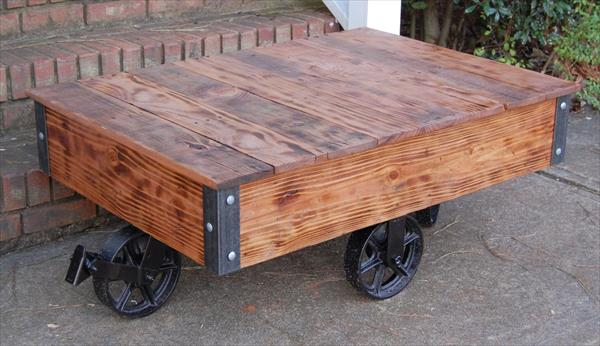 rustic yet modern pallet coffee table with vintage cart wheels