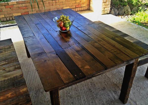 Pallet Dining Table with Benches