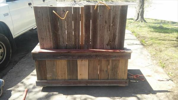 diy pallet outdoor double cooler bench