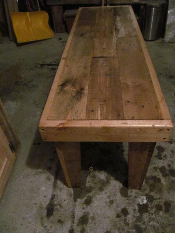 wooden pallet sturdy bench