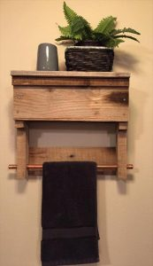 recycled pallet bathroom shelf with towel rack