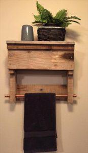 recycled pallet bathroom shelf with towel rack