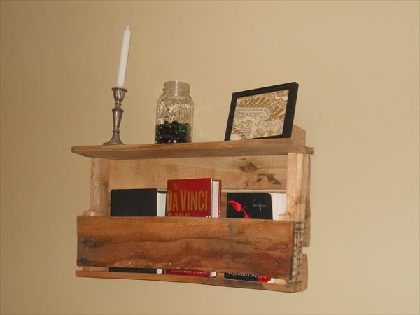 recycled pallet bookshelf with decorative mantle