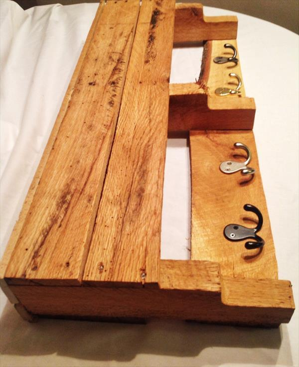 recycled pallet coat rack with double side metal hooks